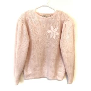Vintage Pink Sweater with Flower Applique
